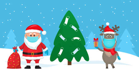 Santa Claus with a bag of gifts and a reindeer near the Christmas tree decorated with medical masks.