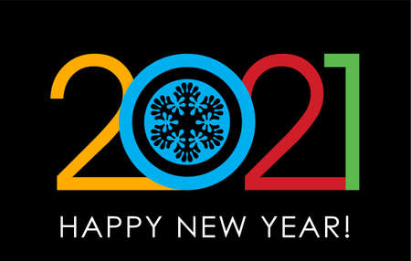 2021, Happy New Year. Greeting card with inscription Happy New Year 2021.