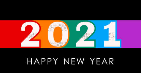 greeting color banner happy new year 2021. flat vector illustration