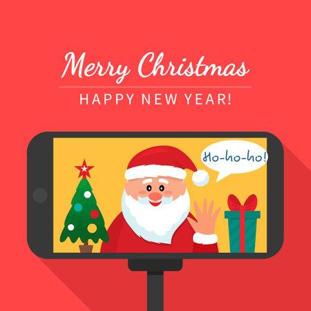 santa claus congratulates children on a video call. greeting card.