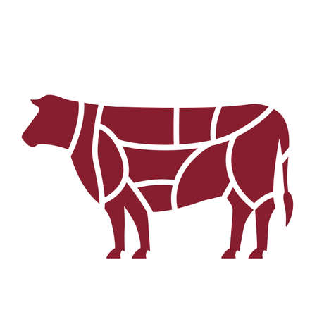 Slaughterhouse or butcher shop . Silhouette of cattle divided into parts. flat vector illustration isolated on white background Vettoriali