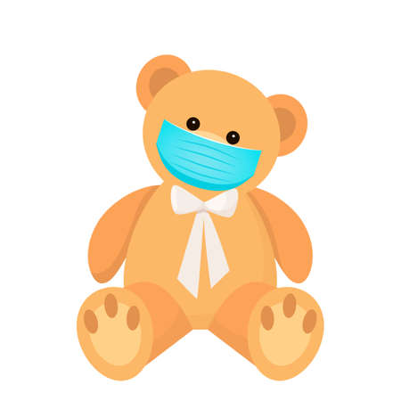 cute teddy bear in a medical mask as a quarantine symbol from covid-19. flat vector illustration isolated on white background Illustration