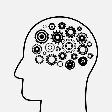 Head and Brain Gears in Progress. Silhouette of a man's head and gears. Business process concept.vector illustration isolated