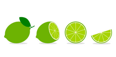 set of whole and sliced lime or lemon with leaf. flat vector illustration isolated on white background