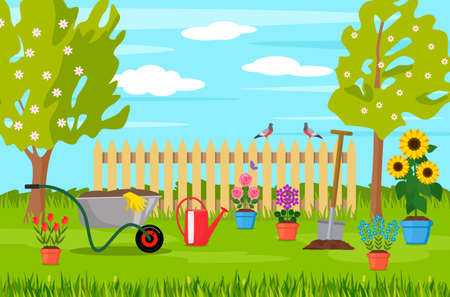 spring landscape in the garden with green grass, flowers, garden wheelbarrow, shovel. garden concept. vector illustration 矢量图像