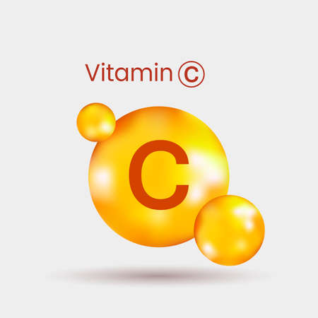 realistic volumetric dragee of vitamin C with shadow. vector illustration on gray background
