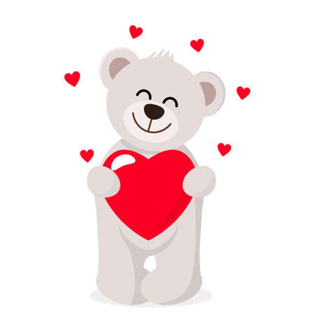 Funny character Teddy holding in the paws of a big heart. The concept of Valentine's Day. flat vector illustration isolate on a white background