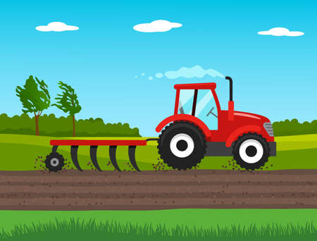 tractor plows the field in spring. agriculture concept. vector illustration 矢量图像