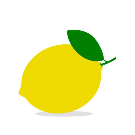 yellow bright lemon with leaf. icon isolated on white background. vector illustration