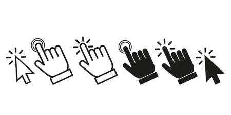 Click here the button with the hand and arrow icon. set of linear icons for websites. flat vector illustration isolated on white background