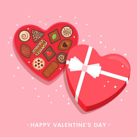 St. Valentine's Day. greeting card with a set of assorted chocolates in a box with a ribbon. congratulatory inscription. vector illustration Ilustrace