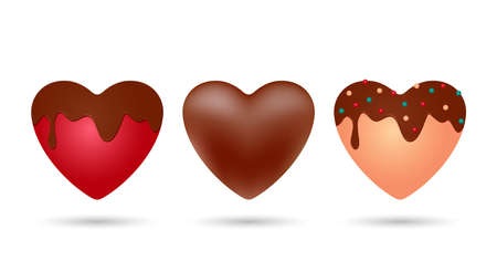set of realistic delicious chocolates. chocolate heart, red heart in chocolate glaze and heart of white chocolate with decor. vector illustration. February 14 concept