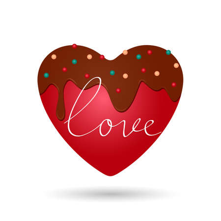 red heart in chocolate glaze with decor and greeting inscription Love. vector illustration. February 14 concept Ilustrace