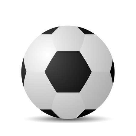 realistic soccer ball with shadow. 3D vector illustration isolated on white background Illustration
