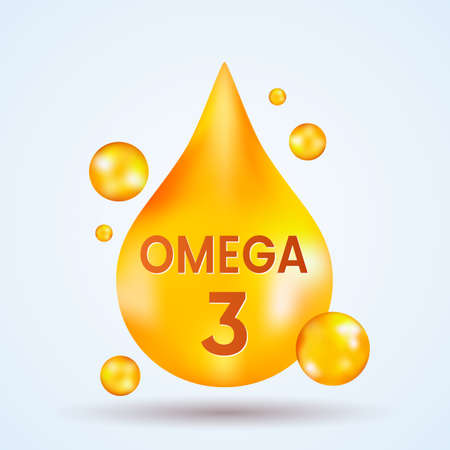golden realistic drop of vitamins and minerals Omega 3 on a light background. vector illustration
