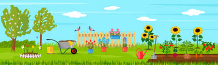 summer landscape on a farm with pets and livestock with green beds and rural tools. Garden and rural life concept. vector illustration Illustration