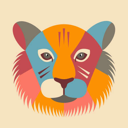 Happy Chinese New Year. zodiac sign symbol tiger head 2022. Template for banner, poster, greeting card. abstract flat vector illustration Ilustrace