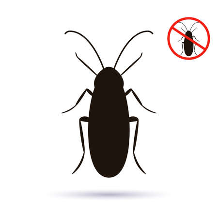 black silhouette of a cockroach. red stop sign. insect control concept. vector illustration isolated on white background