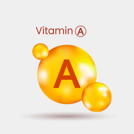 realistic volumetric dragee of vitamin A with shadow. vector illustration on gray background Illustration