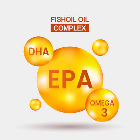 Vitamin Omega-3, EPA fatty acids, DHA. Chemical formula.Capsule pills vector illustration on white isolated background.Drops of vitamins soaring in the air