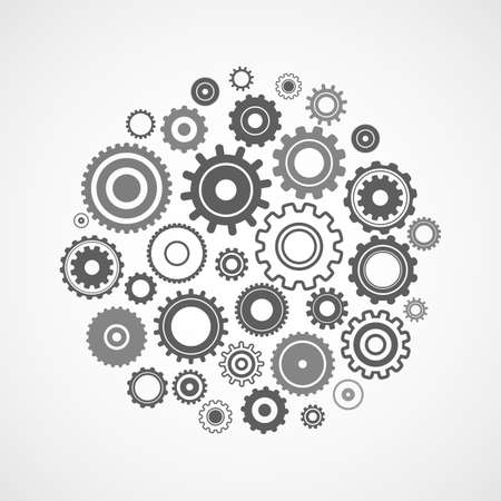 working mechanism of various gears with an included light bulb inside. the concept of teamwork on an idea. vector illustration isolated on white background Ilustrace