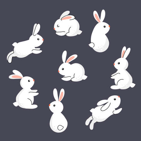 set of cute easter bunnies in cartoon style.