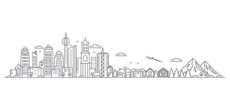 panorama of a big city metropolis with modern buildings and skyscrapers Vektoros illusztráció