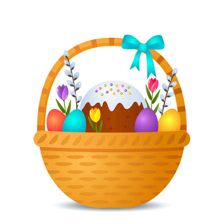 Happy Easter greeting card. Festive Easter basket with Easter cake, colorful eggs, flowers