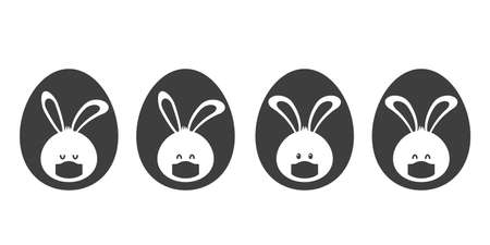 set of Easter bunnies in medical masks. silhouette of easter eggs.