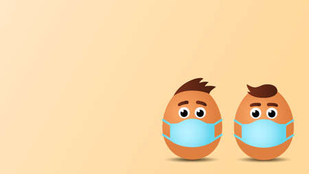 funny easter eggs with faces and hairstyles of people in medical mask. concept of happy easter during quarantine. card with place for text. vector illustration