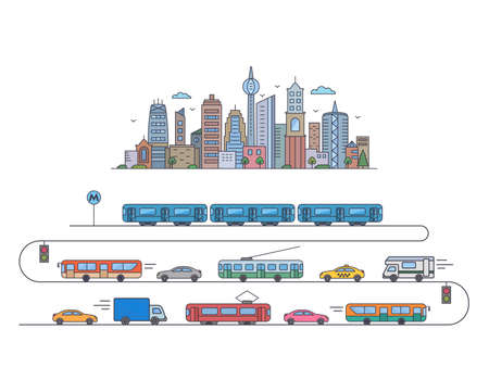 city landscape. city megalopolis with public transport. metro, triple bus, tram, bus, taxi in flat linear style. vector illustration isolated on white background