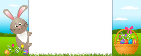 festive easter banner with easter bunny, basket, eggs, flowers, pussy willow and place for text. happy easter concept. vector illustration 矢量图像