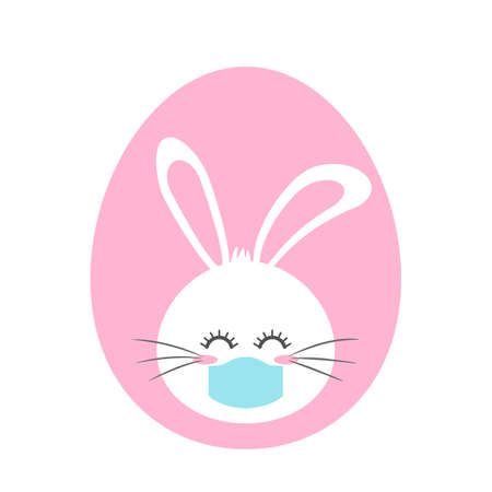 cute easter bunny in an easter egg. concept of happy easter during quarantine. flat vector illustration isolated on white background