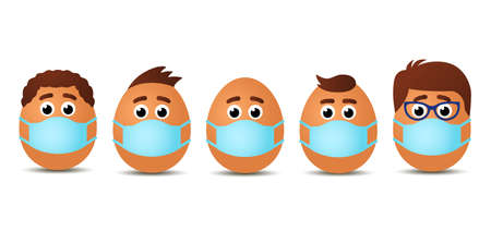funny set easter eggs with faces and hairstyles of people in medical mask. concept of happy easter during quarantine. card with place for text. vector illustration