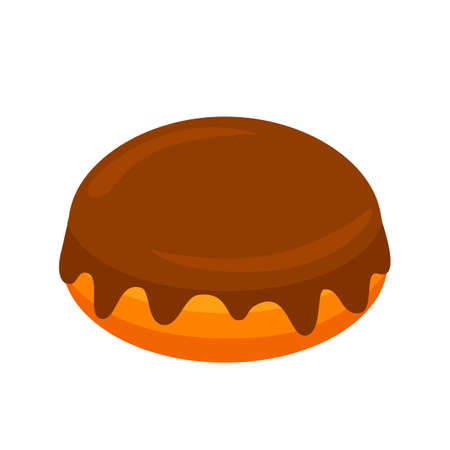 delicious dessert in chocolate glaze. chocolate cake. vector illustration Stock Illustratie