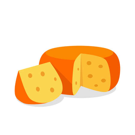 a circle of hard cheese with large holes and a cut triangular piece. vector illustration isolated on white background Stock Illustratie