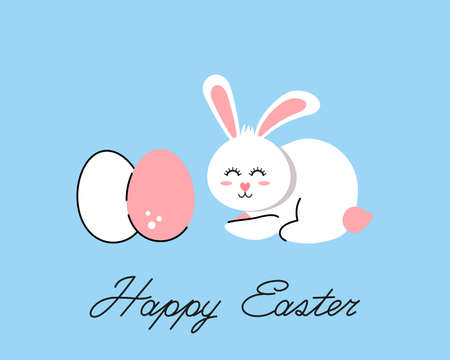 easter bunny and colored easter eggs in a cute linear style. happy easter festive greeting card with greeting lettering. vector illustration isolated on white background