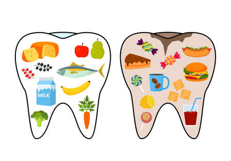healthy and bad tooth. good and bad food. fish, vegetables, fruits, milk or hot dog, hamburger, candy, cakes, soda and coffee. vector illustration Stock Illustratie