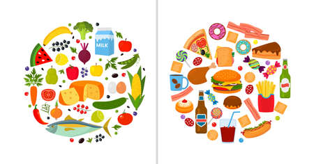 good and bad food. vegetables, fruits, milk, fish and unhealthy fast food hamburger, soda, chicken fries, cake and candy. concept of choice and lifestyle. vector illustration
