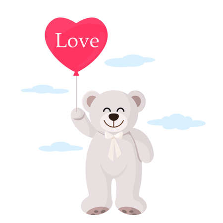 cute teddy bear flying on air blue and gold balloons. concept of congratulations happy birthday, mother's day, valentine's day. vector illustration
