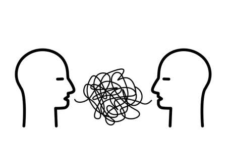 two heads of people with confused thoughts in their heads are talking and talking nonsense. misunderstanding and gossip concept. psychology of communication. vector illustration isolated