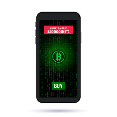 screen of a modern smartphone. button buy bitcoin on a crypto exchange on the background of a binary code. the concept of mining and investment in crypto currency.