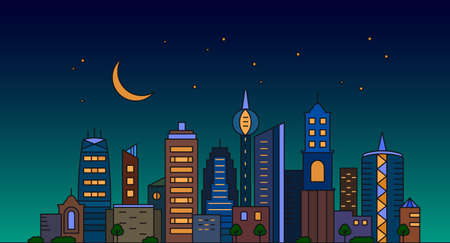 color panorama of a big city metropolis with modern buildings and skyscrapers in a linear style against the background of the night sky and the moon. vector illustration isolated