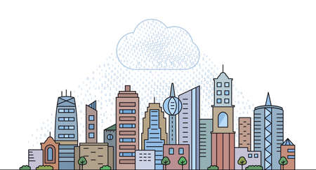A modern city with skyscrapers under a cloud of artificial intelligence. The concept of modern Internet technologies and social networks. vector illustration