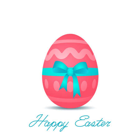 Happy Easter. Holiday banner with Easter egg with bow and greeting lettering. vector illustration