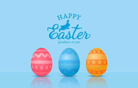 Happy Easter. Holiday card with Easter eggs and greeting lettering. vector illustration
