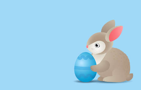 easter bunny holding a festive egg. vector illustration.happy easter concept