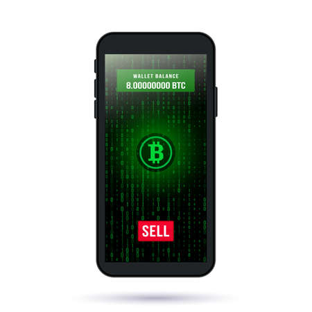 screen of a modern smartphone. button sell bitcoin on cryptoexchange on the background of binary code. cryptocurrency mining and investment concept. vector illustration