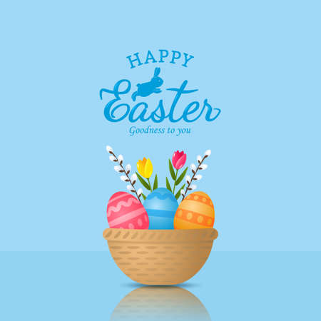 Happy Easter. Holiday card with Easter basket, eggs and flowers. Greeting lettering. vector illustration