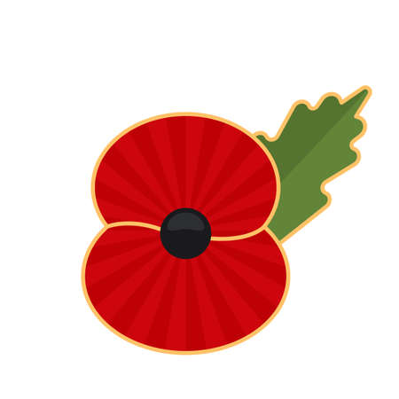 Day of Remembrance for the Victims of World War II. poppy symbol of memory. vector illustration isolated on white background Ilustrace
